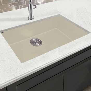 "Nantucket Sinks Plymouth Collection Large Single Bowl Undermount Granite Composite Sand Sink, 30""W x 17-3/4""D x 8-1/4""H"