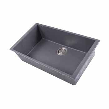 "Nantucket Sinks Plymouth Collection Large Single Bowl Undermount Granite Composite Titanium Sink, 30""W x 17-3/4""D x 8-1/4""H"