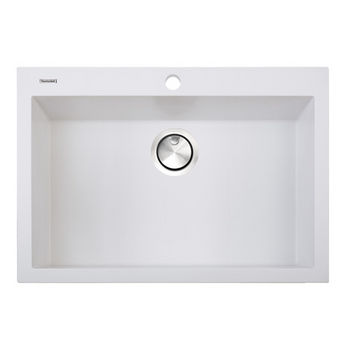 "Nantucket Sinks Plymouth Collection Large Single Bowl Undermount Granite Composite Kitchen Sink in White, 30"" W x 17-3/4"" D x 8-1/4"" H"