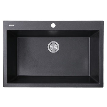 "Nantucket Sinks Plymouth Collection 33"" Dual-Mount Granite Composite Sink in Matte Black, 33"" W x 22"" D x 11"" H"