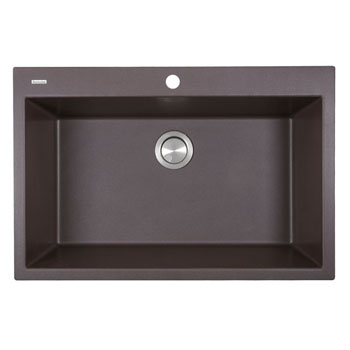 "Nantucket Sinks Plymouth Collection 33"" Dual-Mount Granite Composite Sink in Matte Brown, 33"" W x 22"" D x 11"" H"