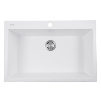 "Nantucket Sinks Plymouth Collection 33"" Dual-Mount Granite Composite Sink in Matte White, 33"" W x 22"" D x 11"" H"