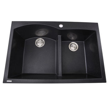 """Nantucket Sinks Plymouth Collection 60/40 Double Bowl Dual-Mount Granite Composite Kitchen Sink in Black, 33"""" W x 22"""" D x 9-7/8"""" H"""