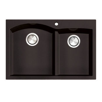 """Nantucket Sinks Plymouth Collection 60/40 Double Bowl Dual-Mount Granite Composite Kitchen Sink in Brown, 33"""" W x 22"""" D x 9-7/8"""" H"""