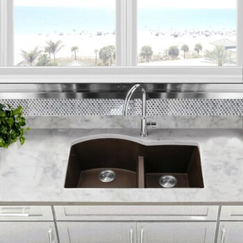 "Nantucket Sinks Plymouth Collection 60/40 Double Bowl Undermount Granite Composite Kitchen Sink in Brown, 33"" W x 20-1/2"" D x 9-7/8"" H"