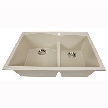 """Nantucket Sinks Plymouth Collection 60/40 Double Bowl Dual-Mount Granite Composite Kitchen Sink in Sand, 33"""" W x 22"""" D x 9-7/8"""" H"""