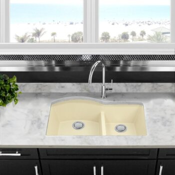 "Nantucket Sinks Plymouth Collection 60/40 Double Bowl Undermount Granite Composite Kitchen Sink in Sand, 33"" W x 20-1/2"" D x 9-7/8"" H"
