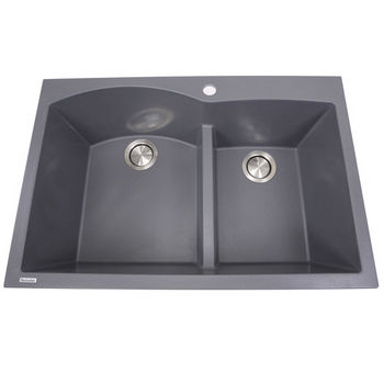 """Nantucket Sinks Plymouth Collection 60/40 Double Bowl Dual-Mount Granite Composite Kitchen Sink in Titanium, 33"""" W x 22"""" D x 9-7/8"""" H"""