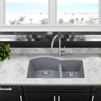 "Nantucket Sinks Plymouth Collection 60/40 Double Bowl Undermount Granite Composite Kitchen Sink in Titanium, 33"" W x 20-1/2"" D x 9-7/8"" H"