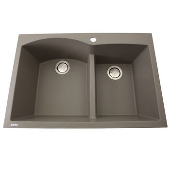 """Nantucket Sinks Plymouth Collection 60/40 Double Bowl Dual-Mount Granite Composite Kitchen Sink in Truffle, 33"""" W x 22"""" D x 9-7/8"""" H"""