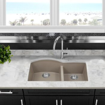"Nantucket Sinks Plymouth Collection 60/40 Double Bowl Undermount Granite Composite Kitchen Sink in Truffle, 33"" W x 20-1/2"" D x 9-7/8"" H"