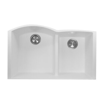 "Nantucket Sinks Plymouth Collection 60/40 Double Bowl Undermount Granite Composite Kitchen Sink in White, 33"" W x 20-1/2"" D x 9-7/8"" H"