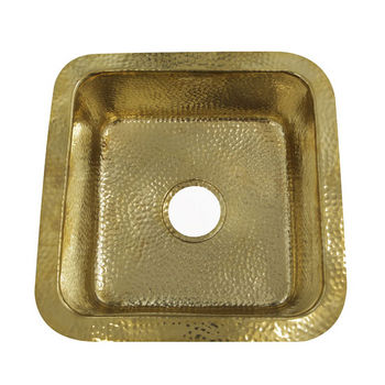 """Nantucket Sinks Brightwork Home Collection 16-5/8"""" Hammered Brass Square Undermount Bar Sink in Polished Brass, 16-5/8"""" W x 16-5/8"""" D x 7-3/8"""" H"""