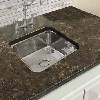 """Nantucket Sinks Brightwork Home Collection Hammered Brass Square Single Bowl Undermount Bar Sink in Polished Stainless Steel, 16-1/2"""" W x 16-1/2"""" D x 7-3/8""""H"""