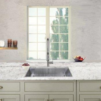 "Nantucket Sinks Pro Series Collection 30"" Single Bowl Zero Radius ADA 16-Gauge Stainless Steel Kitchen Sink in Brushed Satin Stainless Steel, 30"" W x 18"" D x 5-1/2"" H"