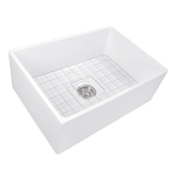 """27"""" Fireclay Sink White Angle View"""