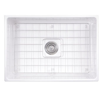 """27"""" Fireclay Sink White Overhead View 2"""
