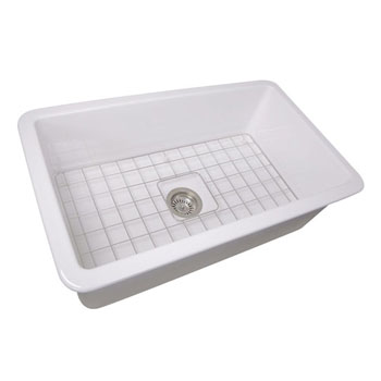 "Nantucket Sinks Cape Collection 32""W Dualmount Rectangular Fireclay Kitchen Sink"