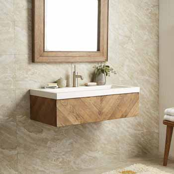 Chardonnay Floating 36 Vanity And Nativestone Trough Sink Top In Multiple Finishes Measuring 36 W X 18 3 4 D X 14 H By Native Trails Kitchensource Com