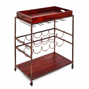Old Dutch Avalon Wine/Serving Cart in Antique Copper and Rosewood Finish