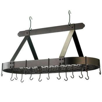Oval Pot Rack w/ Grid & 16 Hooks