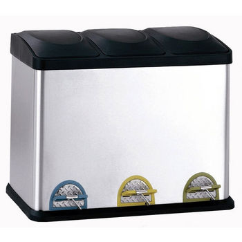 Neu Home Three Compartment Step-On Recycling Bin