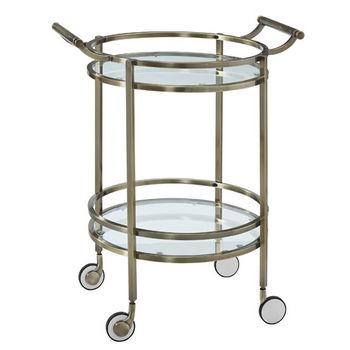 Antique Brass Round Service Cart