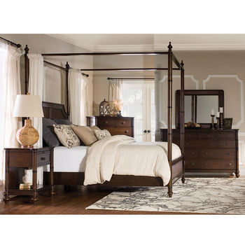 Passages Queen Canopy Bed Cane w/ Headboard, Footboard & Rails