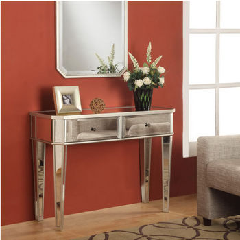 Mirrored Console with ''Silver'' Wood