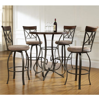 5-Pc. Hamilton Pub Bar Height Set - (1) 697-441 Gathering Table & (4) 697-726 Swivel Counter Stools