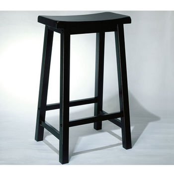 Black Backless Counter & Bar Stools with Wide Scoop Seats by Powell