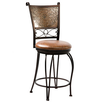 Bronze with Muted Copper Stamped Back Counter Stool by Powell