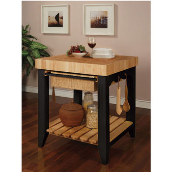 Powell Color Story Kitchen Island With Butcher Block Top Black 30 W X D 36 1 4 H