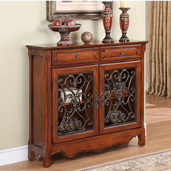 Light Cherry 2-Door, 2-Drawer Scroll Console