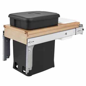 "Single Wood Top Mount Pull-Out 6-gallon Black Compo + Container with Ball-Bearing Soft-Close Slides, Minimum Cabinet Opening: 12""W x 22-7/8""D x 18""H"