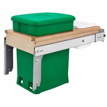 "Single Wood Top Mount Pull-Out 6-gallon Green Compo + Container with Ball-Bearing Soft-Close Slides, Minimum Cabinet Opening: 12""W x 22-7/8""D x 18""H"