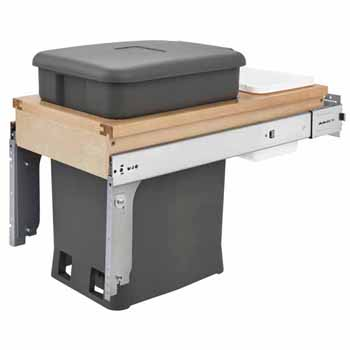 "Single Wood Top Mount Pull-Out 6-gallon Orion Gray Compo + Container with Ball-Bearing Soft-Close Slides, Minimum Cabinet Opening: 12""W x 22-7/8""D x 18""H"