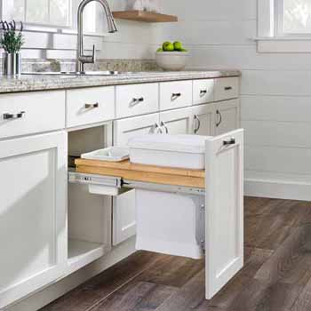 "Single Wood Top Mount Pull-Out 6-gallon White Compo + Container with Ball-Bearing Soft-Close Slides, Minimum Cabinet Opening: 12""W x 22-7/8""D x 18""H"