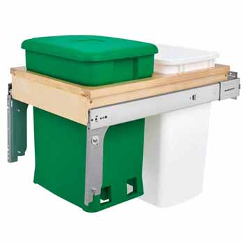 "Wood Top Mount Pullout with Single Green 6-gallon Compo + Single White 35 Quart (8.75 Gallon) Container w/ Ball-Bearing Soft-Close Slides, Minimum Cabinet Opening: 15""W x 22-7/8""D x 21""H"