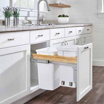 "Wood Top Mount Pullout with Single White 6-gallon Compo + Single White Quart (8.75 Gallon) Container w/ Ball-Bearing Soft-Close Slides, Minimum Cabinet Opening: 15""W x 22-7/8""D x 21""H"