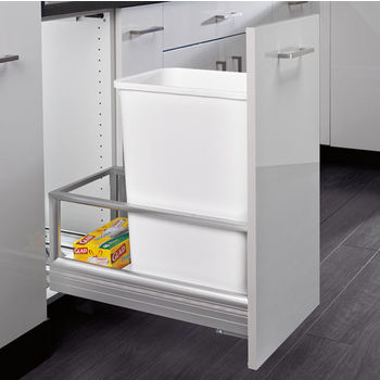 Rev-A-Shelf 50 Quart Single Bin Container with Rev-A-Motion in White, 12-1/8'' W x 22'' D x 23-1/2'' H