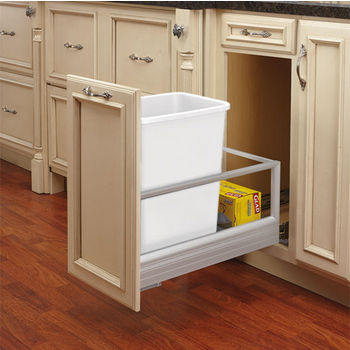 Rev-A-Shelf 35 Quart Single Bin Container with Rev-A-Motion in White, 12-1/8'' W x 22'' D x 19-1/2'' H