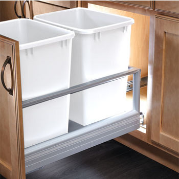 Rev-A-Shelf 35 Quart Double Bin Container with Rev-A-Motion in White, 14-3/16'' W x 22'' D x 19-1/2'' H