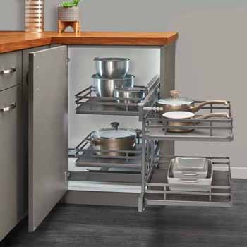 Rev-A-Shelf Pullout Soft-Close 2-Tier Wire Bottom Mount Blind Corner Organizer, with Orion Gray Solid Bottom