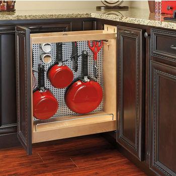 Rev-A-Shelf 8'' Base Organizer w/ Stainless Steel Panel and Blum Soft-Close, 8'' W x 21-5/8'' D x 25-1/2'' to 29-1/2'' H