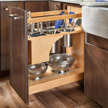 """Rev-A-Shelf 11'' Knife and Utensil Base Organizer w/ Soft Close in Wood/Stainless Steel, 11"""" W x 21-5/8"""" D x 25-1/2"""" H"""