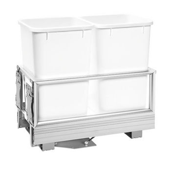 Rev-A-Shelf 27 Quart Double Bin Container with Rev-A-Motion in White, 12-1/8'' W x 22'' D x 19-1/2'' H