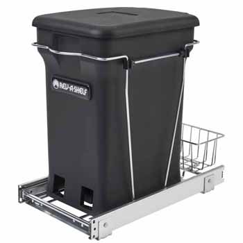 "Single Black 6-gallon Compo+ Container Waste Pullout with Chrome Wire Bottom Mount, Minimum Cabinet Opening: 10-3/4""W x 18-15/16""D x 17-29/32""H"
