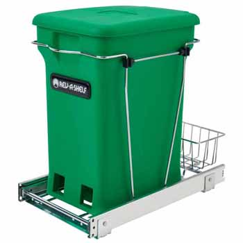 "Single Green 6-gallon Compo+ Container Waste Pullout with Chrome Wire Bottom Mount, Minimum Cabinet Opening: 10-3/4""W x 18-15/16""D x 17-29/32""H"