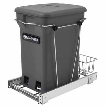 "Single Orion Gray 6-gallon Compo+ Container Waste Pullout with Chrome Wire Bottom Mount, Minimum Cabinet Opening: 10-3/4""W x 18-15/16""D x 17-29/32""H"